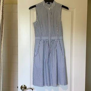 Theory white with blue pin stripe sleeveless dress